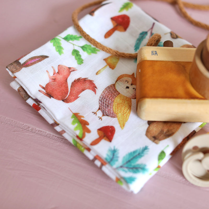 Woodland Animals Muslin Square