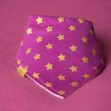 Plum with Golden Stars Bandana Bib