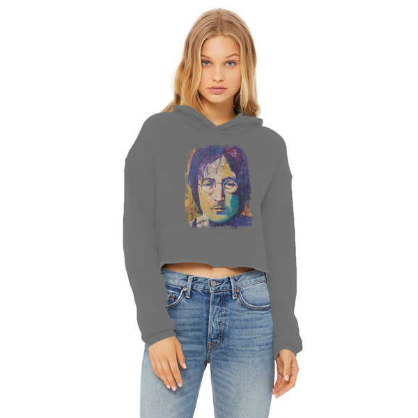 Rock And Roll Ladies Cropped Raw Edge Hoodie