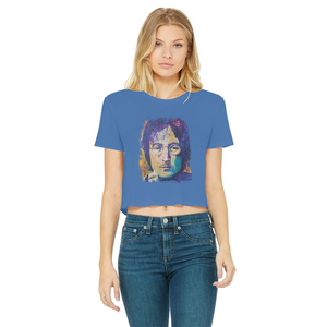 Rock And Roll Classic Women's Cropped Raw Edge T-Shirt