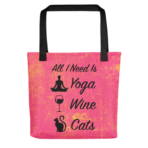 All I Need Is: Yoga, Wine & Cats - Silhouette - Tote Bag