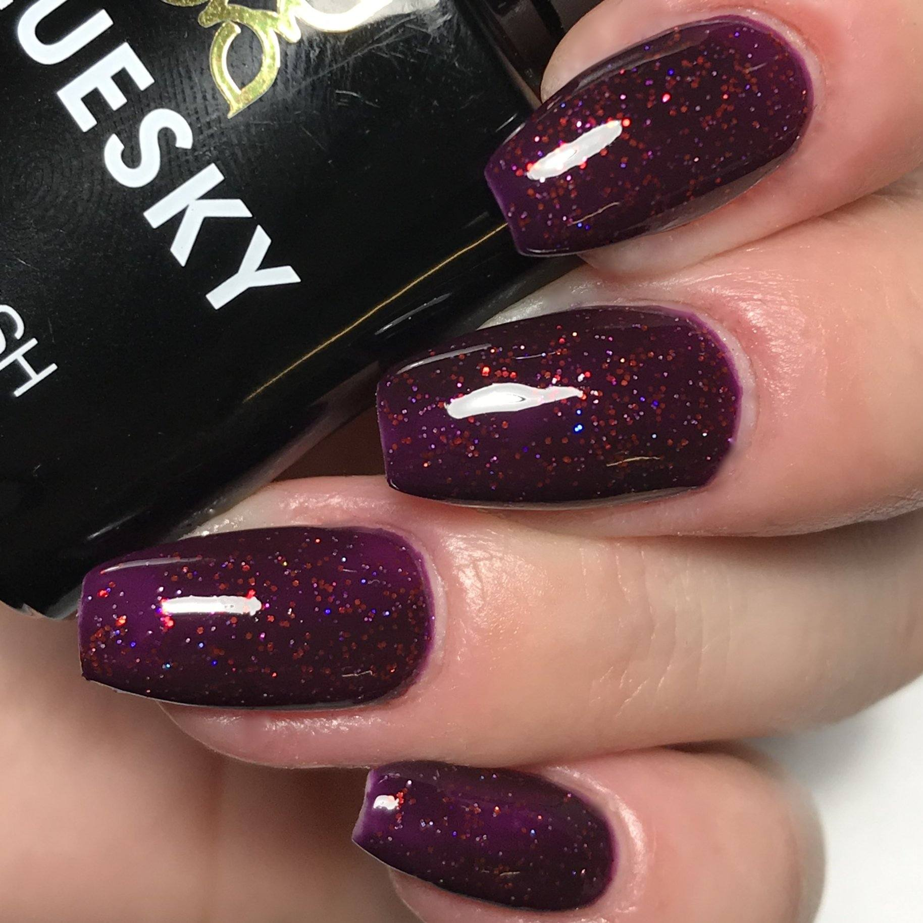 Bluesky BLACK CHERRY UV/LED Soak Off Gel Nail Polish 10ml - Sparkly Dark Purple - Bluesky Nail Gel Polish