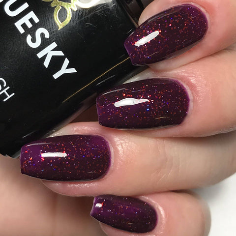 Bluesky BLACK CHERRY UV/LED Soak Off Gel Nail Polish 10ml - Sparkly Dark Purple