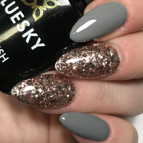 Bluesky Combo DC85 MR GREY & S06N PINK CHAMPAGNE UV/LE Gel Nail Polish - Bluesky Nail Gel Polish