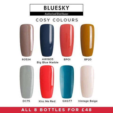 Bluesky UV/LED Cosy Shades Nail 8 Pack