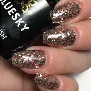 Bluesky Rose Gold Glitter Nail Gel Polish - KS4049 ROSE MIST - UV/LED Soak Off - Bluesky Nail Gel Polish