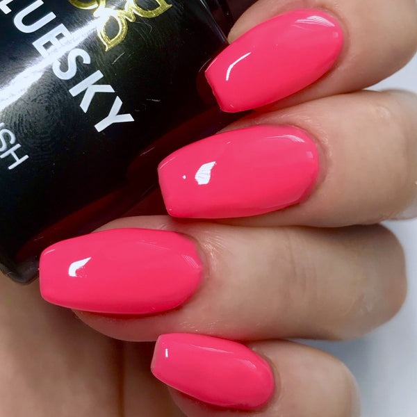 Bluesky NEON 14 PEACHY PINK UV/LED Soak Off Gel Nail Polish 10ml Free P&P - Bluesky Nail Gel Polish