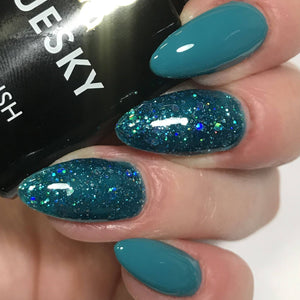 Bluesky Combo QXG77 TEAL & BLZ10 GREEN GLITTER UV/LED Soak Off Gel Nail Polish