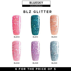 Bluesky UV/LED BLZ Glitter Nail Gel Polish Set of 6