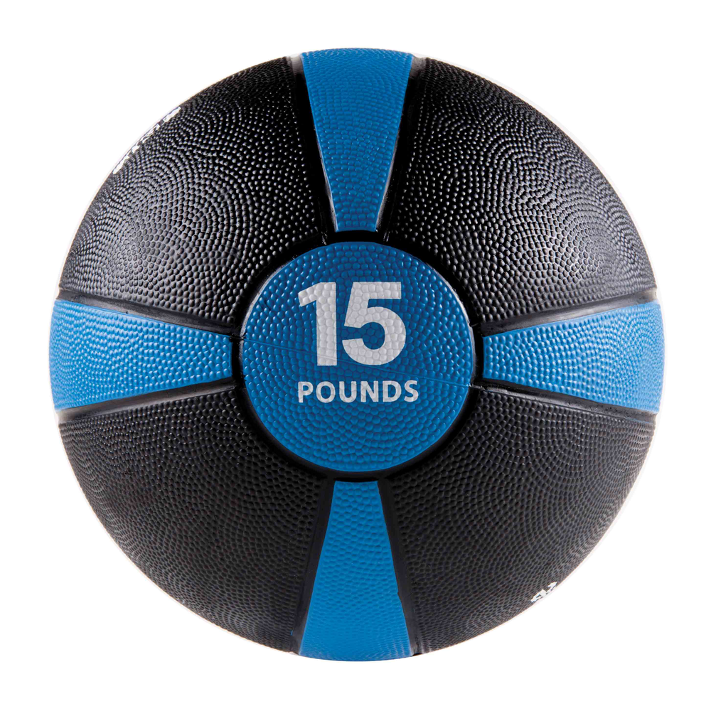 Rubber Medicine Ball 15LB Blue/Black