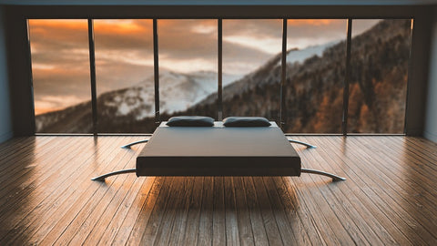 Good Morning Scene with bed by open window overlooking landscape