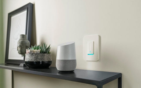 Wemo Wi-Fi Smart Dimmer Side Table Beside Google Home