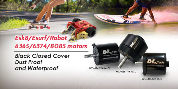 maytech brushless outrunner sensored open cover black sealed cover IP54 splash waterproof engine for electric skateboard longboard all terrain offroad mountainboard