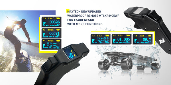 MAYTECH MTSKR1905WF V2 NEW WATERPROOF REMOTE CONTROL FOR ESK8/ESURF WITH DISPLAY AND WIRELESS CHARGING FUNCTIONS WITH RECEIVER