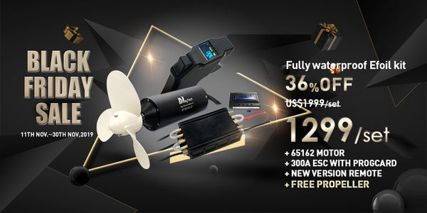 Black Friday is coming, 36% OFF for Efoil Kit fully waterproof electric brushless inrunner motors MTI65162+MTSF300A OPTO ESC Fully Waterproof Remote controller for Esurf and Esk8 and progcard for programmable, and free propeller