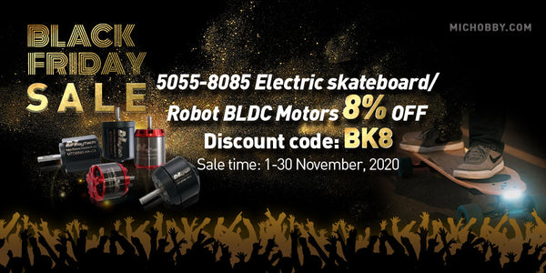 Black Friday Sale 5055-8085 Electric skateboard/Robot BLDC Motors  8% OFF Discount code: BK8