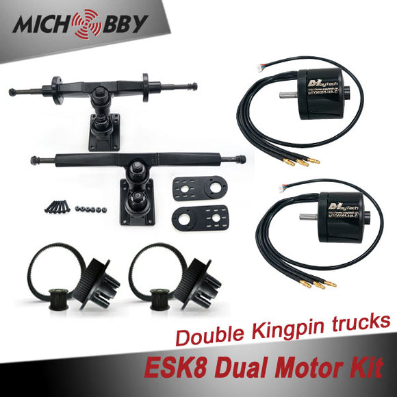 Esk8 Dual 6355 Motor Kit Electric longboard kit dual motor trucks with motor mounts and pulleys