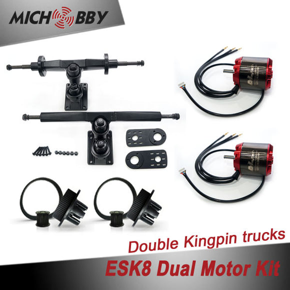 Esk8 Dual 6365 Motor Kit Electric longboard kit dual motor trucks with motor mounts and pulleys