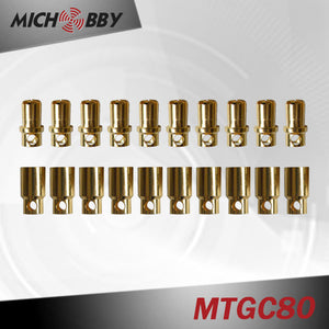 10sets/pairs Gold Plated Copper Genuine 2.0mm/2.3mm/3.0mm/3.5mm/4.0mm/5.5mm/6.0mm/6.5mm-8.0mm Amass Banana Plug Connector bullet connector