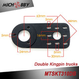 Double kingpin truck Dual 6374 sensored motors Superfoc 50A VESC6 based ESC Remote electric skateboard longboard kit