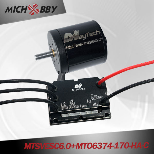 MICHOBBY 6374 170kv brushless outrunner black sealed cover motor with VESC6.0 200A based controller
