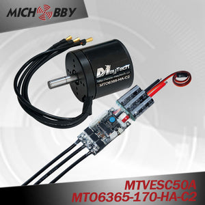 Maytech 6365 170kv brushless motor with closed motor and 50A VESC based controller for electric mountainboard