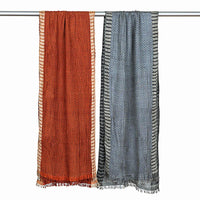Handwoven Crinkled Silk Scarf, Small Checks. Rust