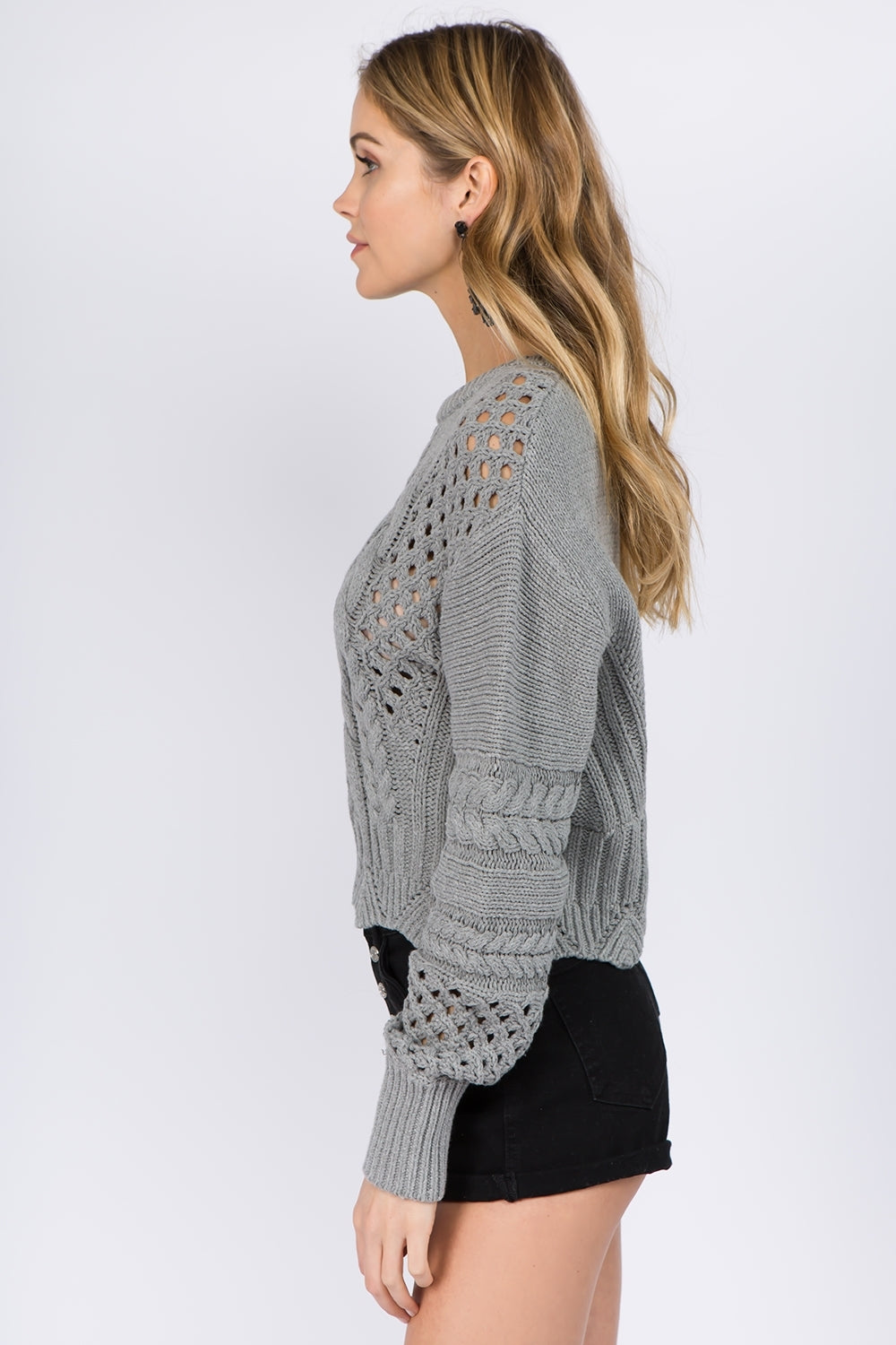 Knitted Long Sleeve Grey Pull Over Sweater