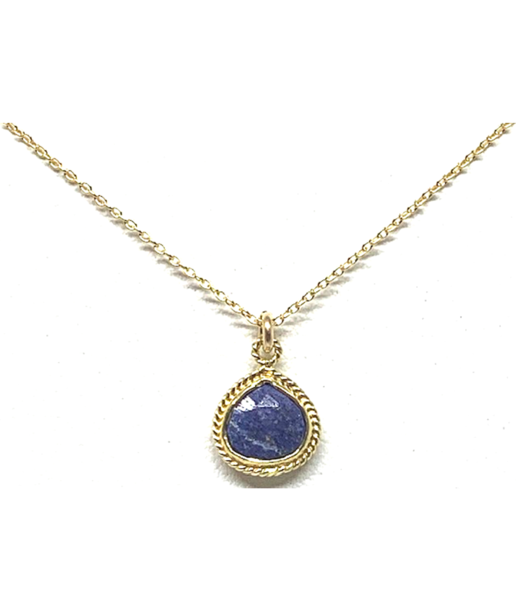 Small Lapis Wire Wrap Bezel Necklace