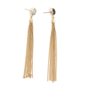 Glass Drop Tassel Earrings - Bronze