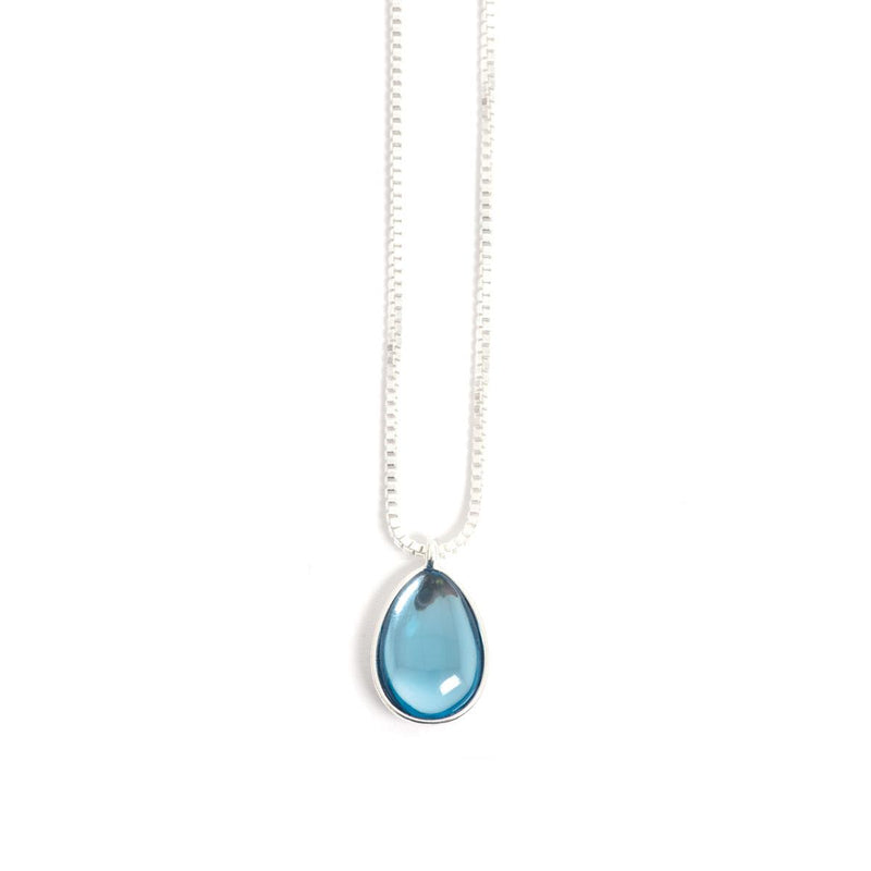 Glass Drop Necklace - Silver