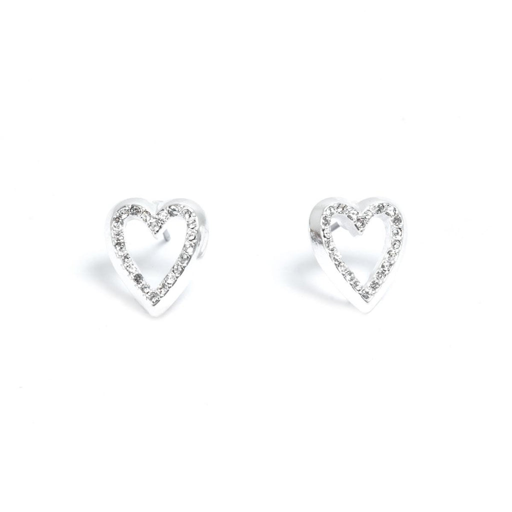 Deep Hearts Earrings - Silver