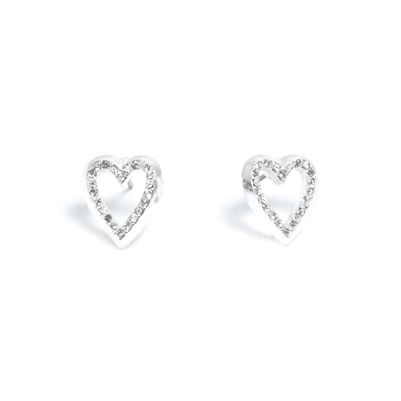 Deep Hearts Silver Earrings