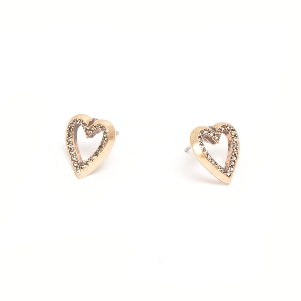 Deep Hearts Bronze Earrings