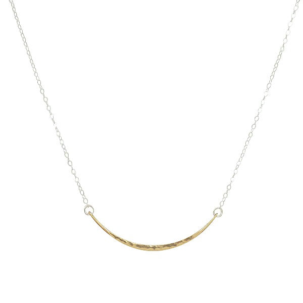 Hammered Small Curved Bar Necklace