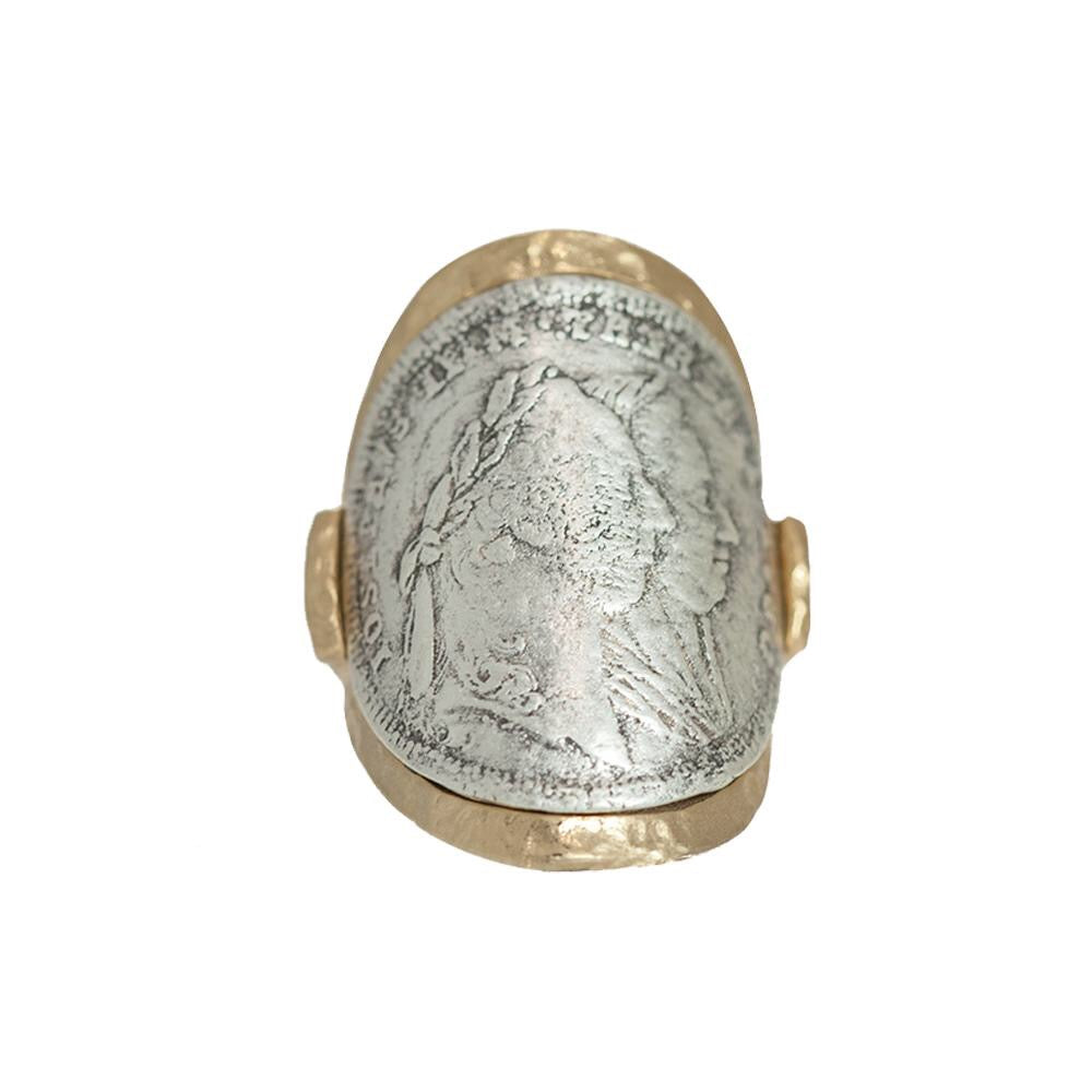 Gold Maria Theresa Coin Rounded Ring