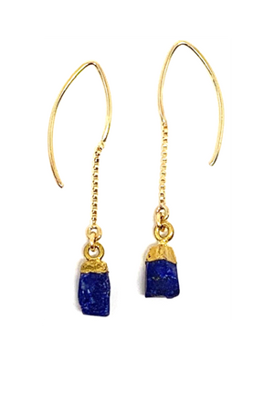 Rough Cut Lapis On Chain Earring