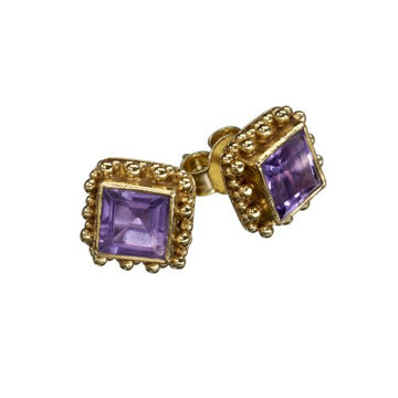 Candy Amethyst Gold Earrings