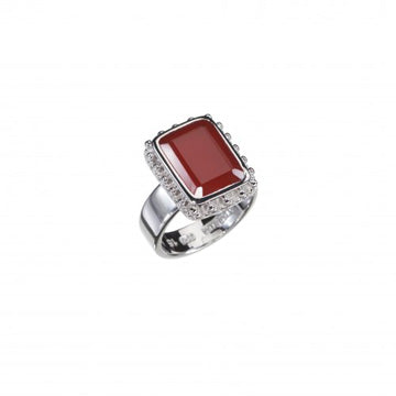 Cherry Red Onyx Silver Ring