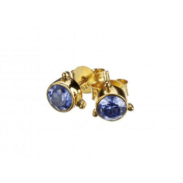 Darling Blue Zircon Earrings - Gold