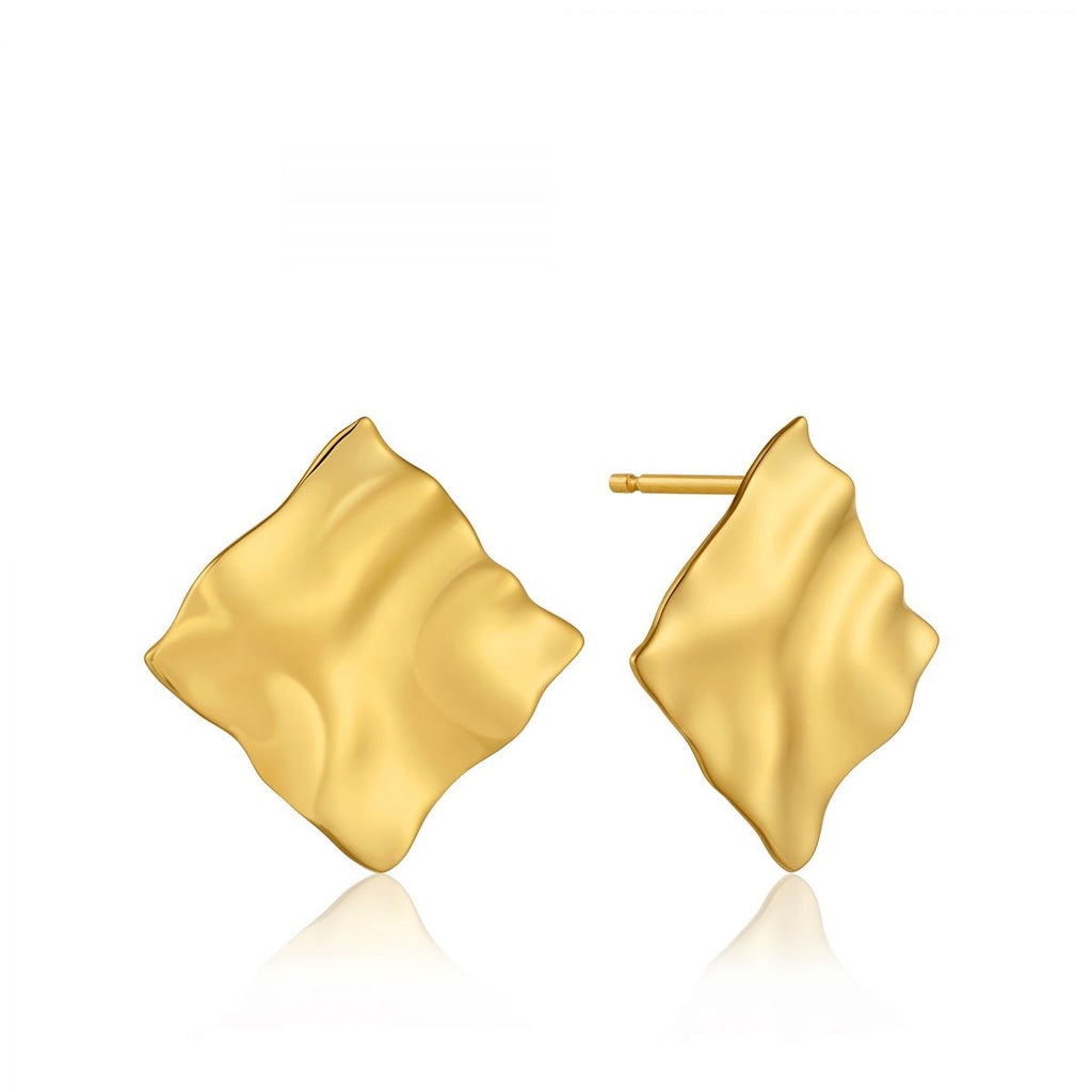 Crush Square Gold Stud Earrings