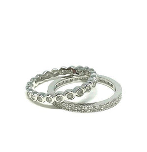 Silver Crystal 2 Stacking Rings