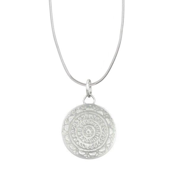 Sun Goddess Mandala Silver Necklace