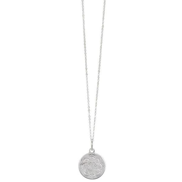 Lotus Coin Silver Necklace