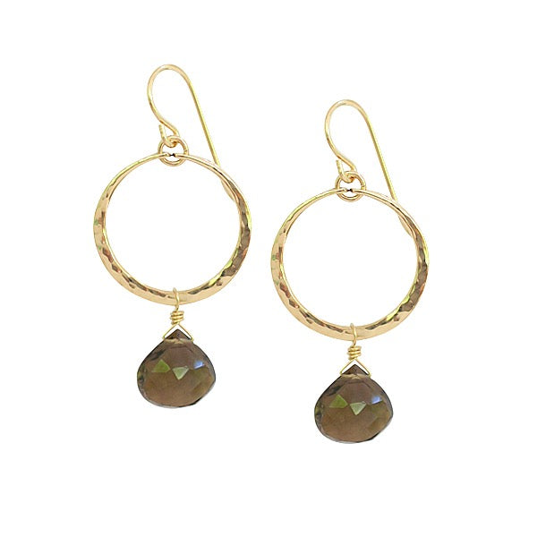 Gemstone Hoop Drop Earrings