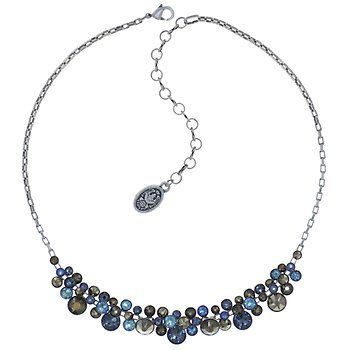 Water Cascade Blue/Brown Cluster Necklace