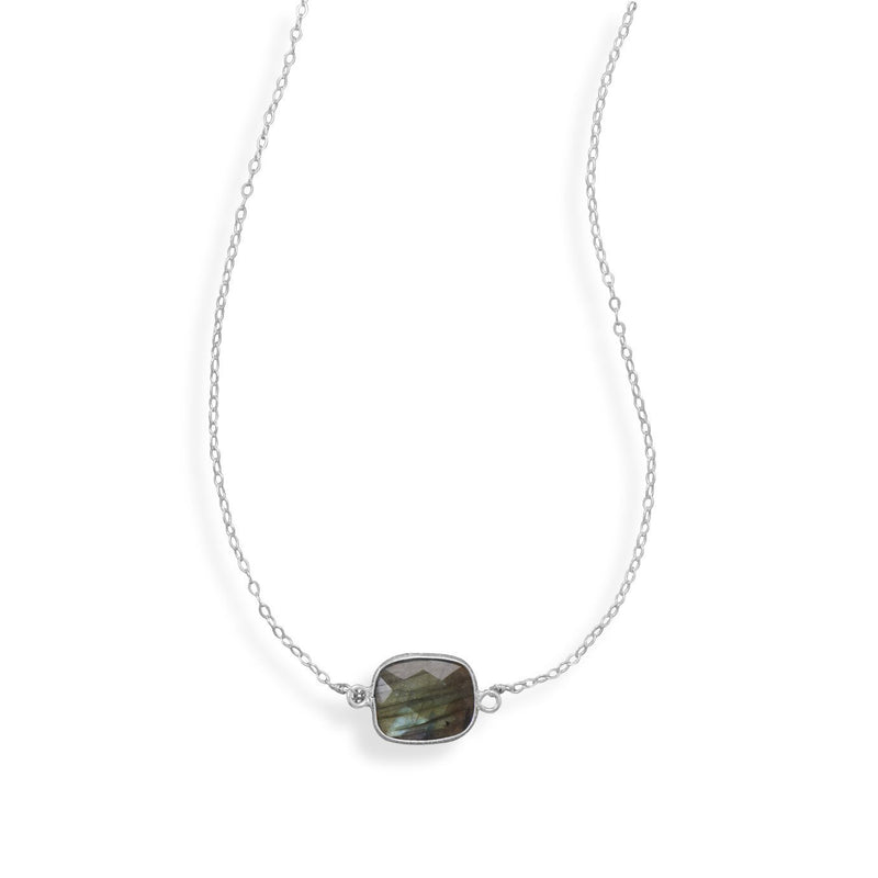 Single Labroadorite Silver Necklace