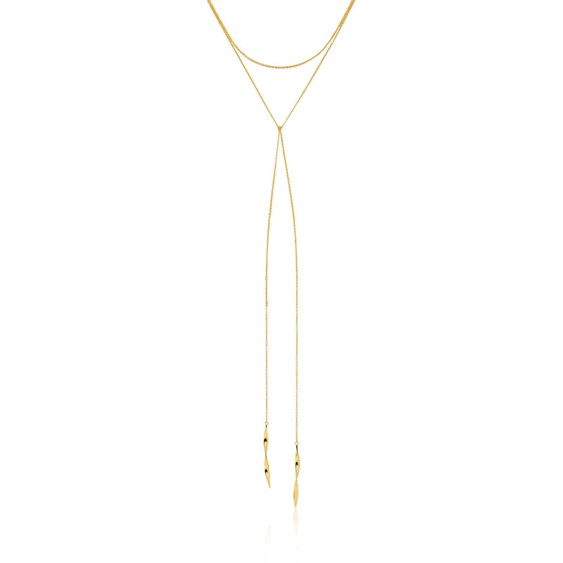 "Helix Lariat 16"" Necklace - Gold"