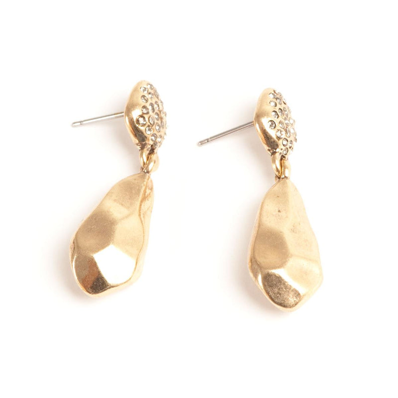 Gold Nugget Drop Earrings with Stones