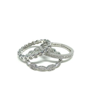 Silver Crystal 3 Stacking Rings